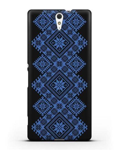Чехол с синим белорусским орнаментом и символами Богатство, Огонь, Молодость силикон черный для Sony Xperia C5