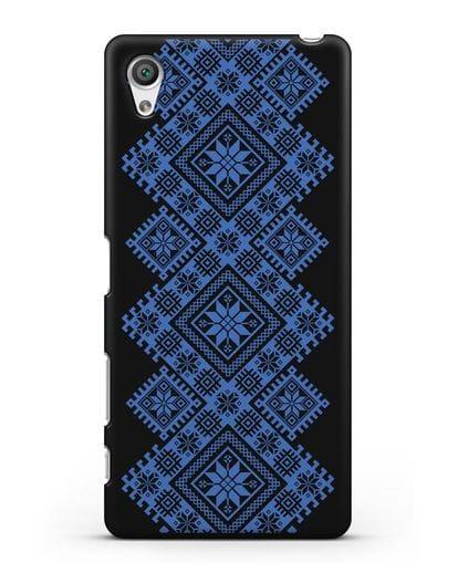 Чехол с синим белорусским орнаментом и символами Богатство, Огонь, Молодость силикон черный для Sony Xperia X