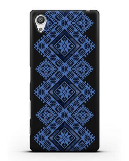 Чехол с синим белорусским орнаментом и символами Богатство, Огонь, Молодость силикон черный для Sony Xperia X Performance