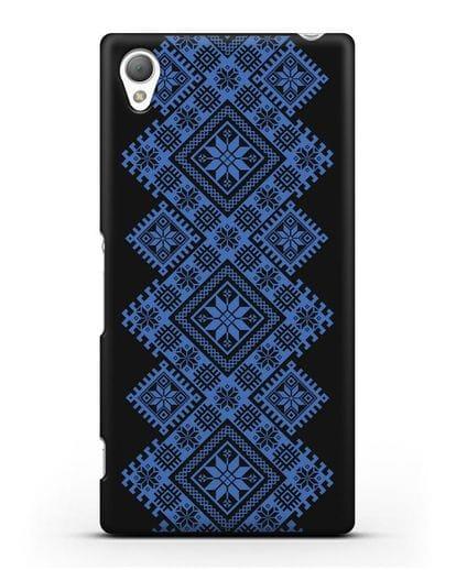 Чехол с синим белорусским орнаментом и символами Богатство, Огонь, Молодость силикон черный для Sony Xperia Z3