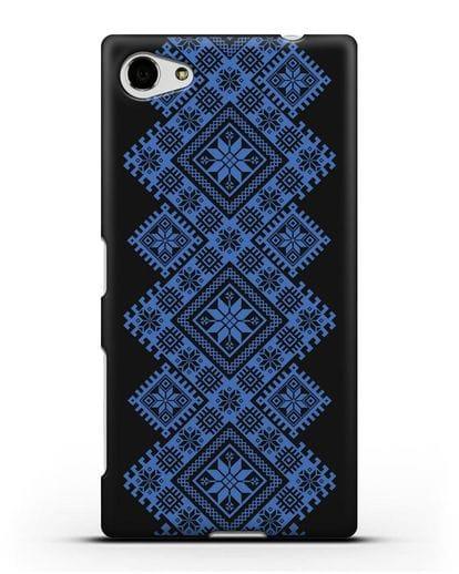 Чехол с синим белорусским орнаментом и символами Богатство, Огонь, Молодость силикон черный для Sony Xperia Z5 Compact