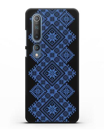 Чехол с синим белорусским орнаментом и символами Богатство, Огонь, Молодость силикон черный для Xiaomi Mi 10 Pro
