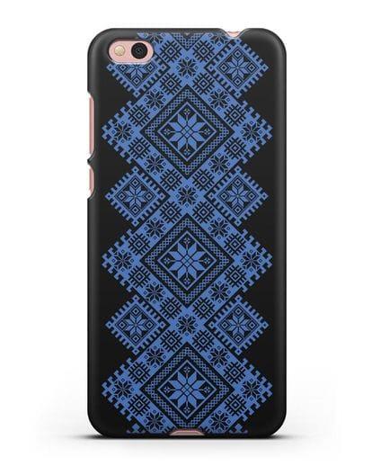 Чехол с синим белорусским орнаментом и символами Богатство, Огонь, Молодость силикон черный для Xiaomi Mi 5С