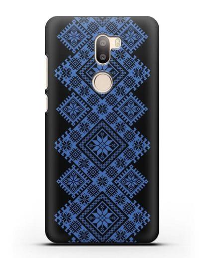 Чехол с синим белорусским орнаментом и символами Богатство, Огонь, Молодость силикон черный для Xiaomi Mi 5S Plus
