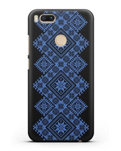 Чехол с синим белорусским орнаментом и символами Богатство, Огонь, Молодость силикон черный для Xiaomi Mi 5X