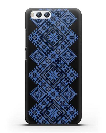 Чехол с синим белорусским орнаментом и символами Богатство, Огонь, Молодость силикон черный для Xiaomi Mi 6