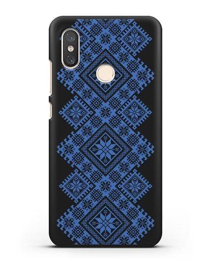 Чехол с синим белорусским орнаментом и символами Богатство, Огонь, Молодость силикон черный для Xiaomi Mi 8