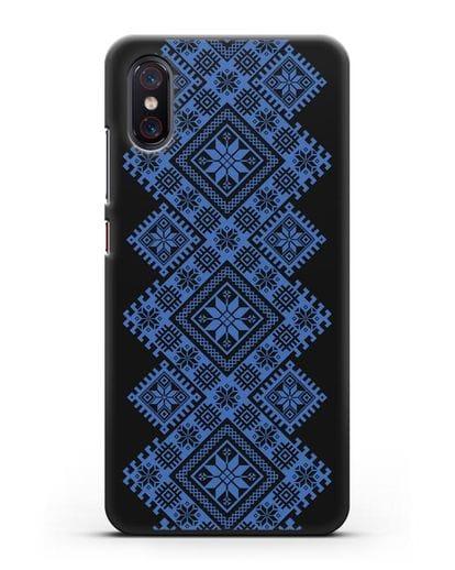 Чехол с синим белорусским орнаментом и символами Богатство, Огонь, Молодость силикон черный для Xiaomi Mi 8 Pro