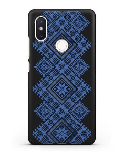 Чехол с синим белорусским орнаментом и символами Богатство, Огонь, Молодость силикон черный для Xiaomi Mi 8 SE