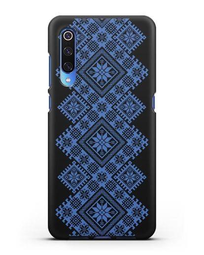 Чехол с синим белорусским орнаментом и символами Богатство, Огонь, Молодость силикон черный для Xiaomi Mi 9