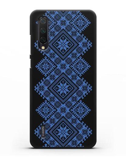 Чехол с синим белорусским орнаментом и символами Богатство, Огонь, Молодость силикон черный для Xiaomi Mi 9 Lite