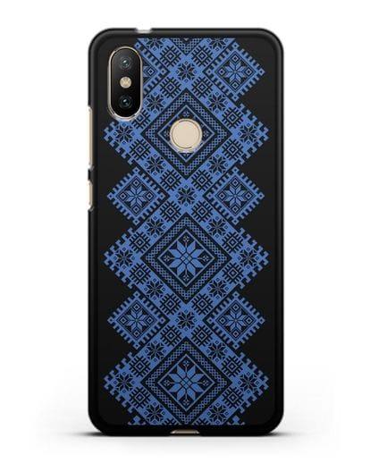 Чехол с синим белорусским орнаментом и символами Богатство, Огонь, Молодость силикон черный для Xiaomi Mi A2