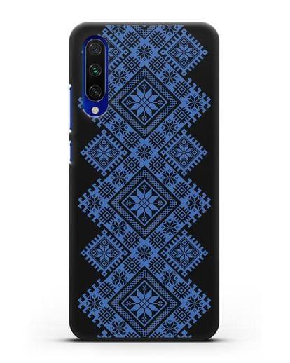 Чехол с синим белорусским орнаментом и символами Богатство, Огонь, Молодость силикон черный для Xiaomi Mi CC9 E