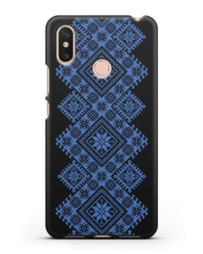 Чехол с синим белорусским орнаментом и символами Богатство, Огонь, Молодость силикон черный для Xiaomi Mi Max 3