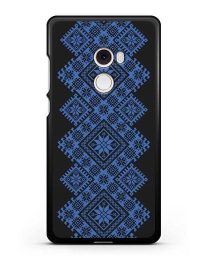 Чехол с синим белорусским орнаментом и символами Богатство, Огонь, Молодость силикон черный для Xiaomi Mi Mix 2