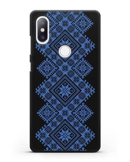 Чехол с синим белорусским орнаментом и символами Богатство, Огонь, Молодость силикон черный для Xiaomi Mi Mix 2S