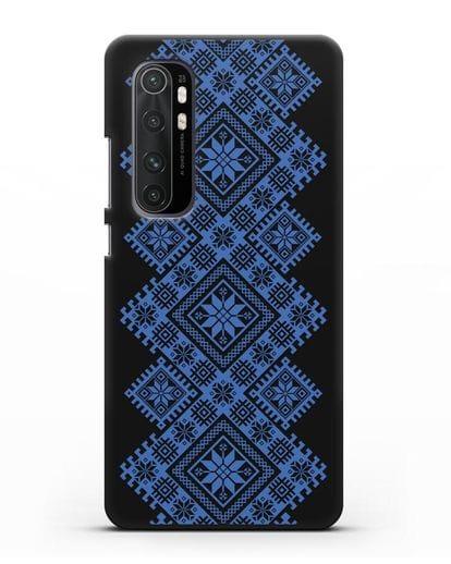 Чехол с синим белорусским орнаментом и символами Богатство, Огонь, Молодость силикон черный для Xiaomi Mi Note 10 lite