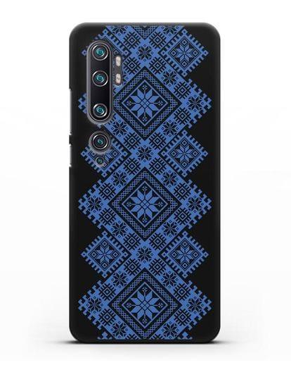 Чехол с синим белорусским орнаментом и символами Богатство, Огонь, Молодость силикон черный для Xiaomi Mi Note 10 Pro