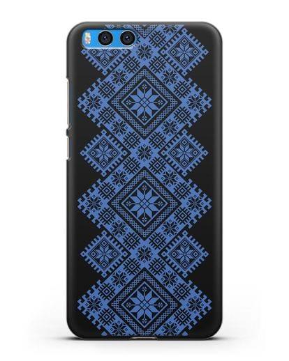 Чехол с синим белорусским орнаментом и символами Богатство, Огонь, Молодость силикон черный для Xiaomi Mi Note 3