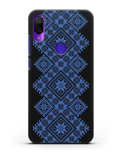 Чехол с синим белорусским орнаментом и символами Богатство, Огонь, Молодость силикон черный для Xiaomi Mi Play