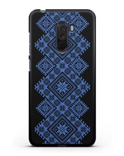 Чехол с синим белорусским орнаментом и символами Богатство, Огонь, Молодость силикон черный для Xiaomi Pocophone F1