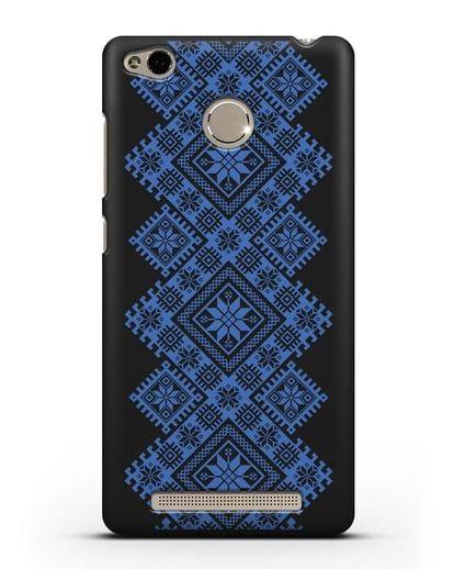Чехол с синим белорусским орнаментом и символами Богатство, Огонь, Молодость силикон черный для Xiaomi Redmi 3 Pro