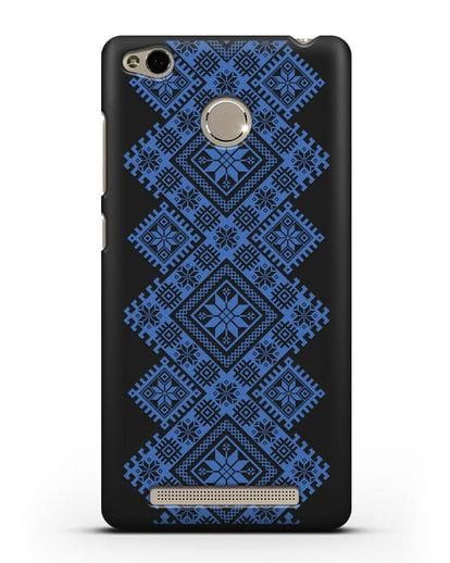 Чехол с синим белорусским орнаментом и символами Богатство, Огонь, Молодость силикон черный для Xiaomi Redmi 3s
