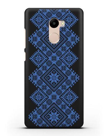 Чехол с синим белорусским орнаментом и символами Богатство, Огонь, Молодость силикон черный для Xiaomi Redmi 4