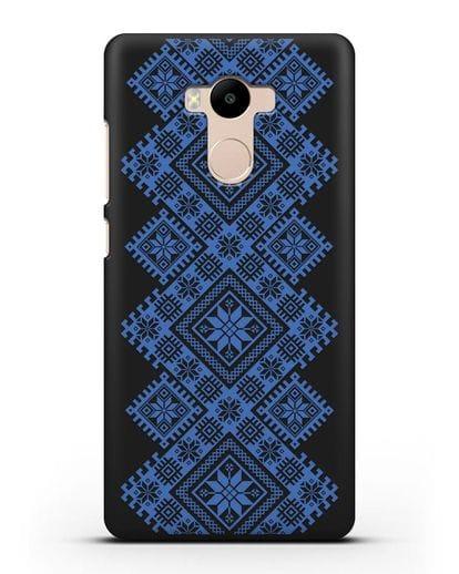 Чехол с синим белорусским орнаментом и символами Богатство, Огонь, Молодость силикон черный для Xiaomi Redmi 4 Pro