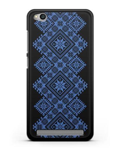 Чехол с синим белорусским орнаментом и символами Богатство, Огонь, Молодость силикон черный для Xiaomi Redmi 5A
