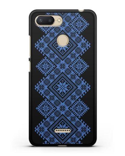 Чехол с синим белорусским орнаментом и символами Богатство, Огонь, Молодость силикон черный для Xiaomi Redmi 6