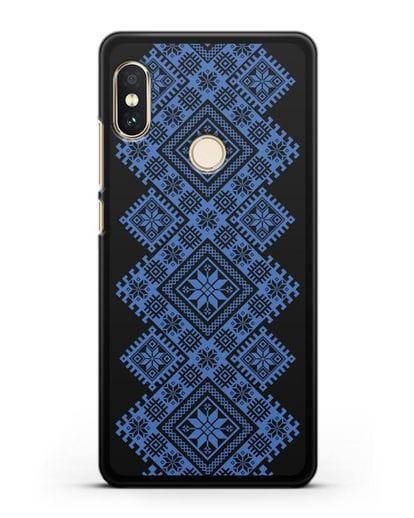Чехол с синим белорусским орнаментом и символами Богатство, Огонь, Молодость силикон черный для Xiaomi Redmi 6 Pro