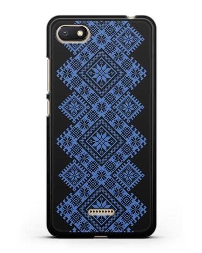 Чехол с синим белорусским орнаментом и символами Богатство, Огонь, Молодость силикон черный для Xiaomi Redmi 6A