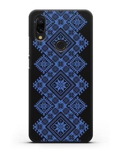 Чехол с синим белорусским орнаментом и символами Богатство, Огонь, Молодость силикон черный для Xiaomi Redmi 7