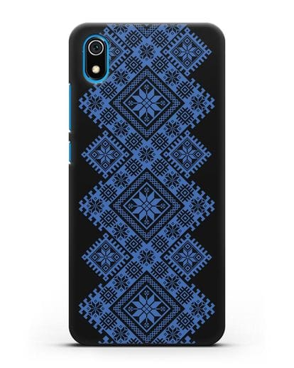 Чехол с синим белорусским орнаментом и символами Богатство, Огонь, Молодость силикон черный для Xiaomi Redmi 7A
