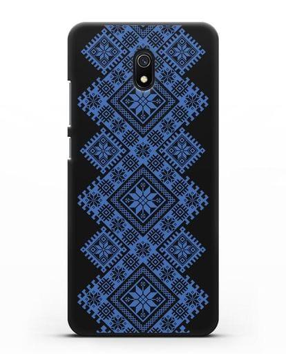 Чехол с синим белорусским орнаментом и символами Богатство, Огонь, Молодость силикон черный для Xiaomi Redmi 8A