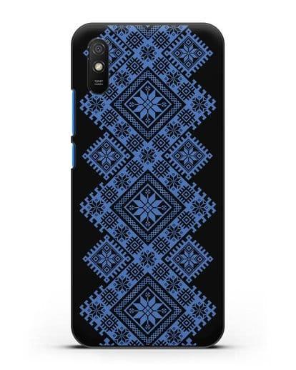 Чехол с синим белорусским орнаментом и символами Богатство, Огонь, Молодость силикон черный для Xiaomi Redmi 9A