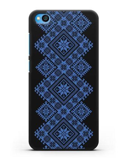 Чехол с синим белорусским орнаментом и символами Богатство, Огонь, Молодость силикон черный для Xiaomi Redmi Go