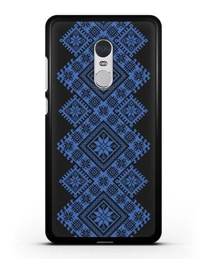 Чехол с синим белорусским орнаментом и символами Богатство, Огонь, Молодость силикон черный для Xiaomi Redmi Note 4