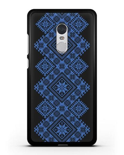 Чехол с синим белорусским орнаментом и символами Богатство, Огонь, Молодость силикон черный для Xiaomi Redmi Note 4X