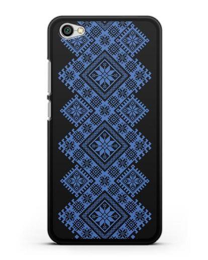 Чехол с синим белорусским орнаментом и символами Богатство, Огонь, Молодость силикон черный для Xiaomi Redmi Note 5A