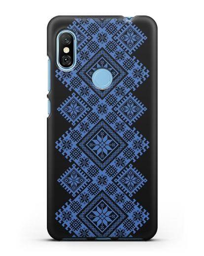 Чехол с синим белорусским орнаментом и символами Богатство, Огонь, Молодость силикон черный для Xiaomi Redmi Note 6 Pro