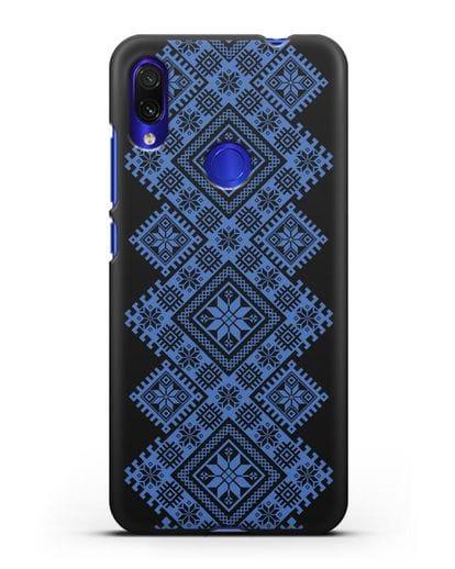 Чехол с синим белорусским орнаментом и символами Богатство, Огонь, Молодость силикон черный для Xiaomi Redmi Note 7