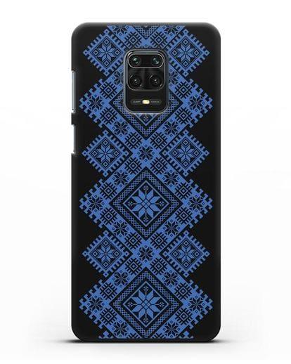 Чехол с синим белорусским орнаментом и символами Богатство, Огонь, Молодость силикон черный для Xiaomi Redmi Note 9 Pro