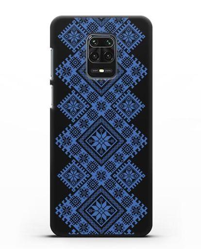 Чехол с синим белорусским орнаментом и символами Богатство, Огонь, Молодость силикон черный для Xiaomi Redmi Note 9S