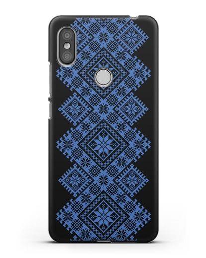 Чехол с синим белорусским орнаментом и символами Богатство, Огонь, Молодость силикон черный для Xiaomi Redmi S2