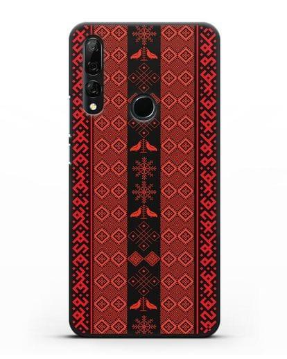 Чехол с белорусским орнаментом и символами Любовь, Чистота силикон черный для Honor 9X