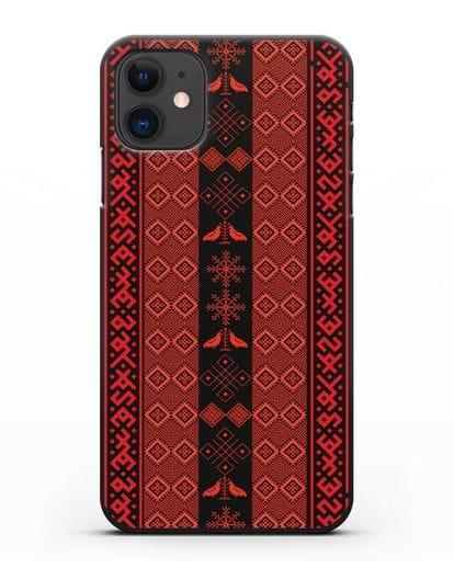 Чехол с белорусским орнаментом и символами Любовь, Чистота силикон черный для iPhone 11