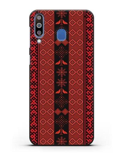 Чехол с белорусским орнаментом и символами Любовь, Чистота силикон черный для Samsung Galaxy M30 [SM-M305F]