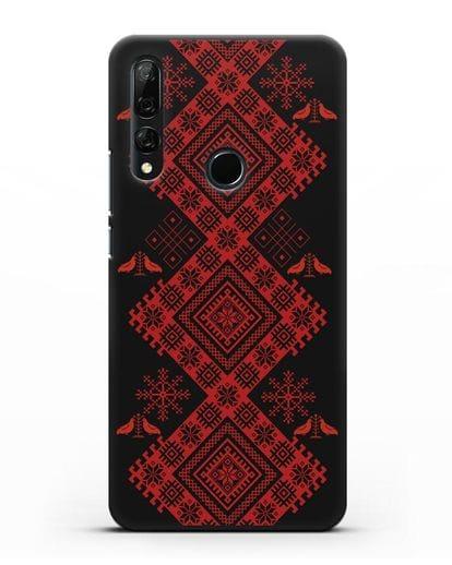 Чехол с белорусским красным орнаментом и женскими символами силикон черный для Honor 9X